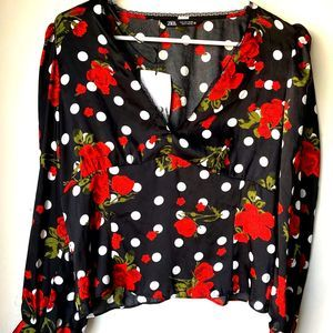 Zara blouse large dotted floral print button up